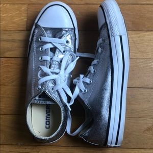 Silver Metallic Converse Sneakers Women's 8